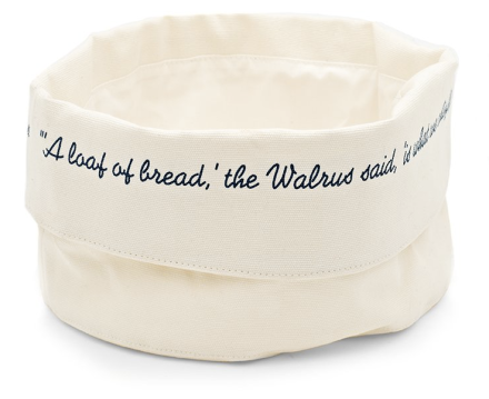 Canvas Text Bread Basket Indigo