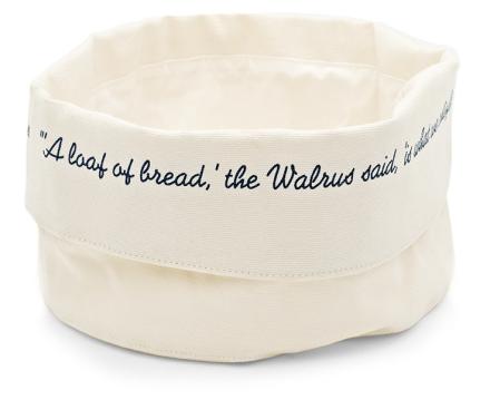 Canvas Text Bread Basket Indigo