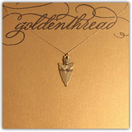 Golden Thread Antiqued Gold Arrowhead