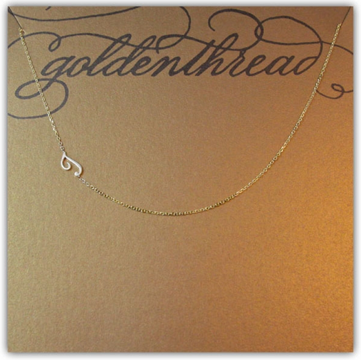 Golden Thread Sideways Initial Necklace