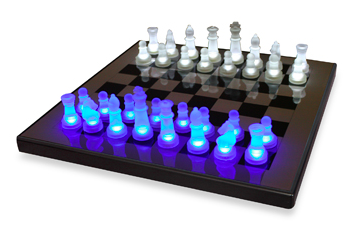 LED Blue and White Chess Set