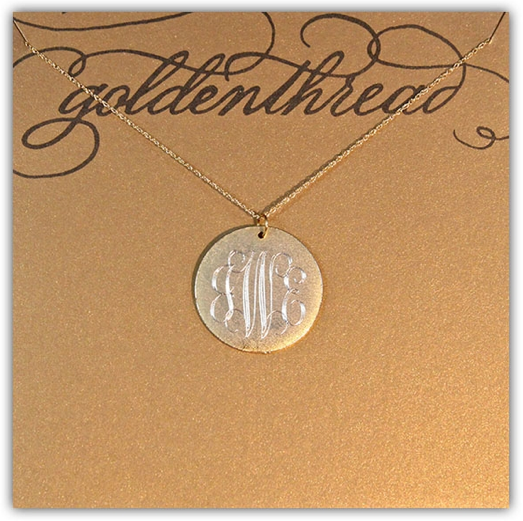 Golden Thread Antiqued Large Gold Disc Initial Necklace