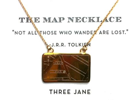 Three Jane NY Map Necklace