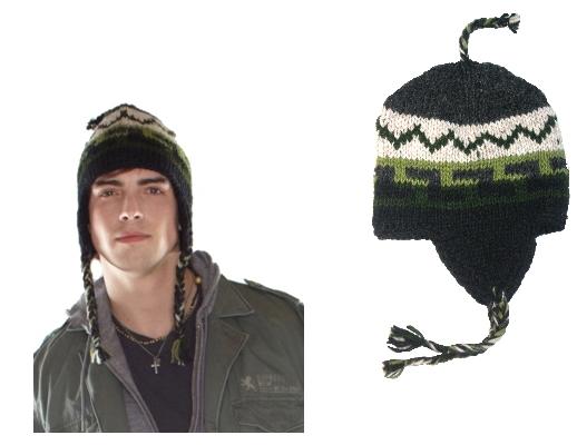 Green Knit Ear Flap Hat