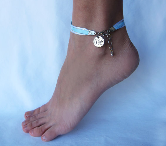 Something Blue Ribbon Anklet