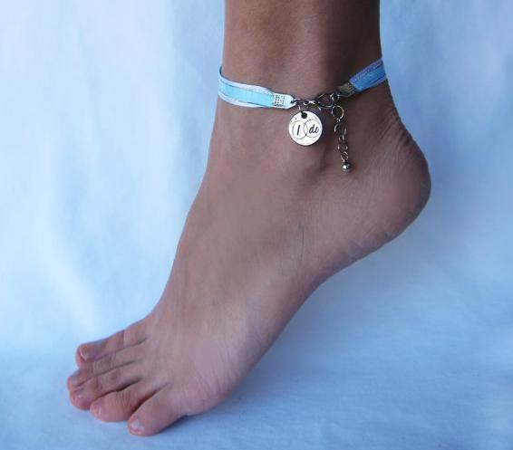 Something Blue Ribbon Anklet