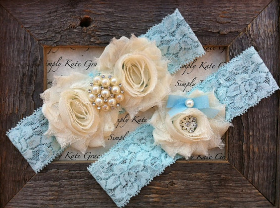 Something Blue Wedding Garter Vintage