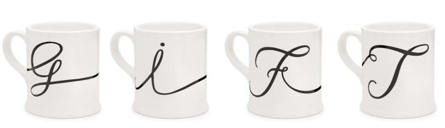 Cursive Monogram Mugs Indigo