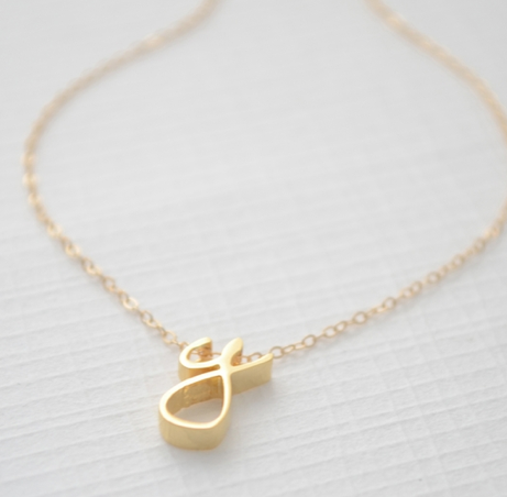 Gold Cursive Letter Necklace Olive Yew