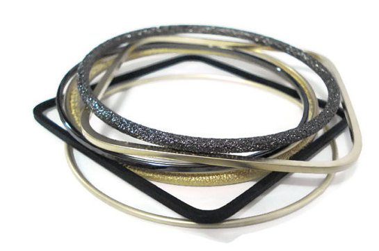 Black and Brushed Gold Bangle Stack