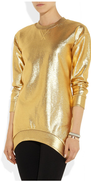Faith Connexion Metallic Coated Cotton Jersey Sweatshirt