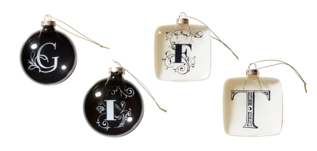 Indigo Monogram Ornaments
