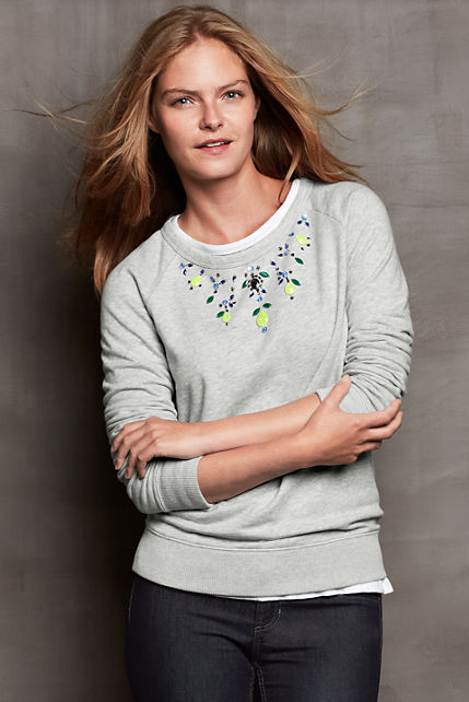 Lands' End Long Sleeve Terry Embellished Crew