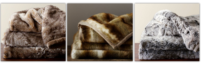 Pottery Barn Faux Fur Blankets