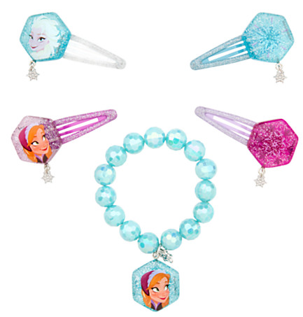 Anna and Elsa Hair Clips and Bracelet Set