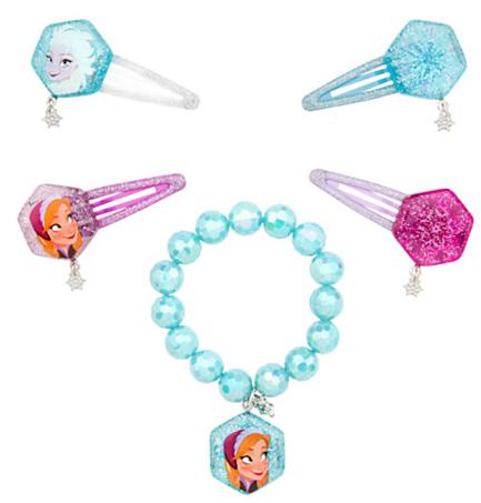Anna and Elsa Hair Clips and Bracelet Set