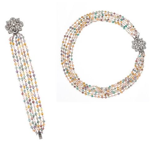 Elle Hardware Multi-Tone Swarvoski Bracelet and Necklace