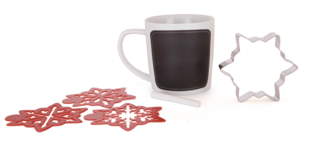 PC Chalkboard Mug With Cookie Cutter and Stencil