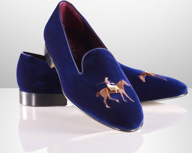 Ralph Lauren Collis Velvet Horse Slippers