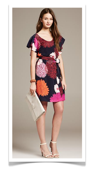 Bold Floral Flutter-Sleeve Dress