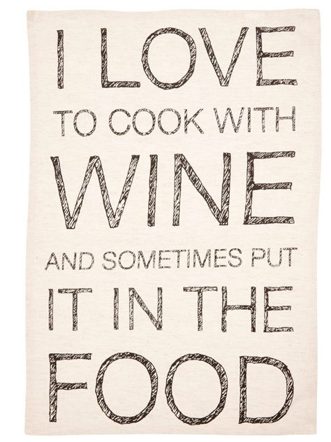 Cook With Wine Tea Towel