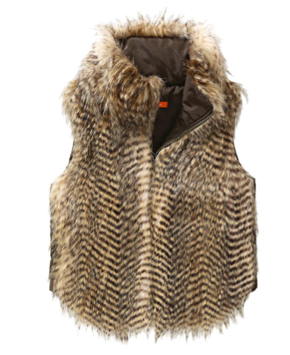 Joe Fresh Striped Faux Fur Vest