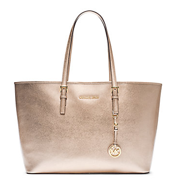 Michael Kors Jet Set Travel Metallic Saffiano Leather Medium Tote