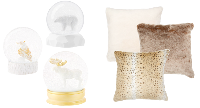 Indigo Snow Globes and Faux Fur Pillows