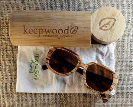 Keepwood Zebra Wood Handcrafted Sunglasses