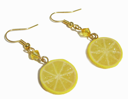 Miniature Food Jewelry Fruit Lemon Slice Earrings