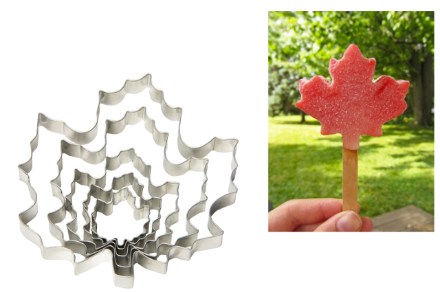 Maple Leaf Cookie Cutter Boozy Watermelon Pops