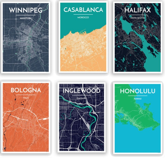 Point Two Design Map Prints