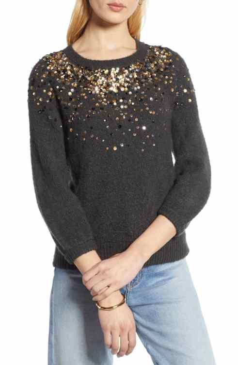 Halogen Sequin Detail Sweater